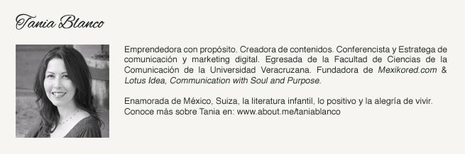 Tania Blanco, Comunicadora, Fundadora de Mexikored.com & Lotus Idea en Suiza.