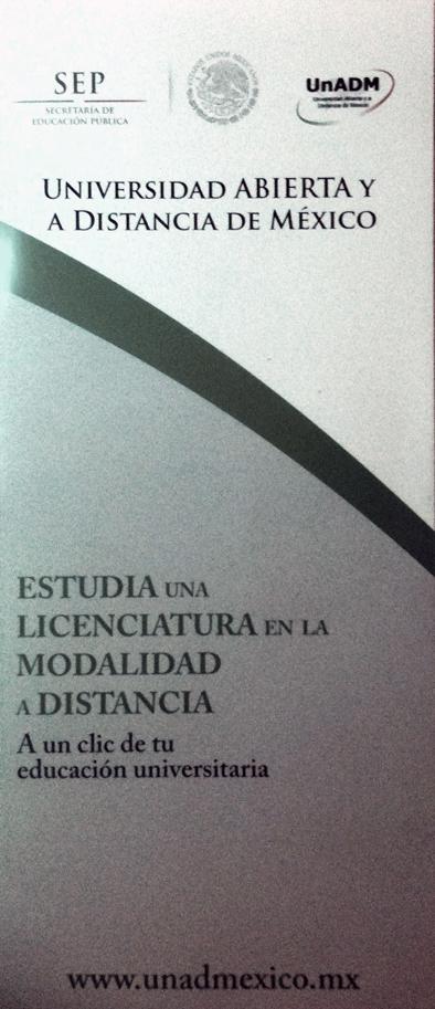 Foto: triptico Universidad Abierta y a Distancia de México