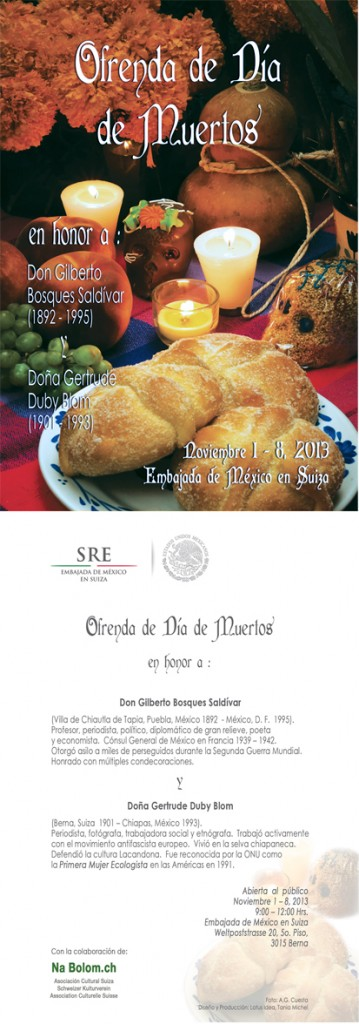 Ofrenda de día de muertos en Berna - Embamex, Suiza. Del 1 al 8 de Noviembre.